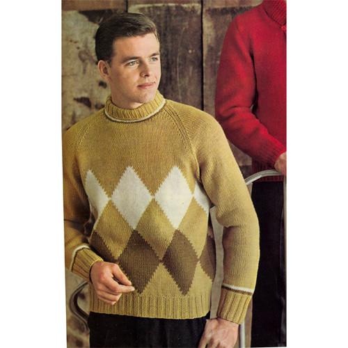 Mans Diamond Knit Argyle Sweater Pattern