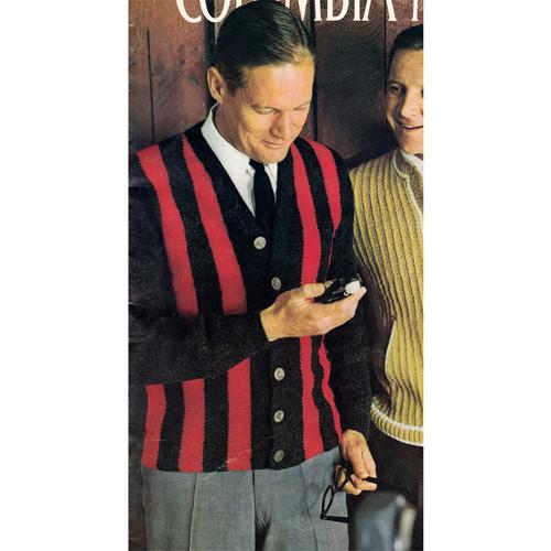 Vintage Knitting Pattern for Mans Striped Cardigan
