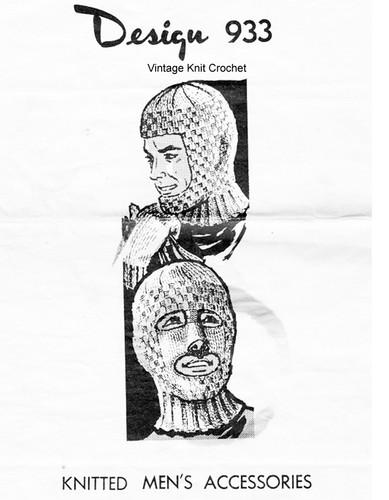 Mans Ski Mask Knitting Pattern, Mittens, Mail Order Design 933