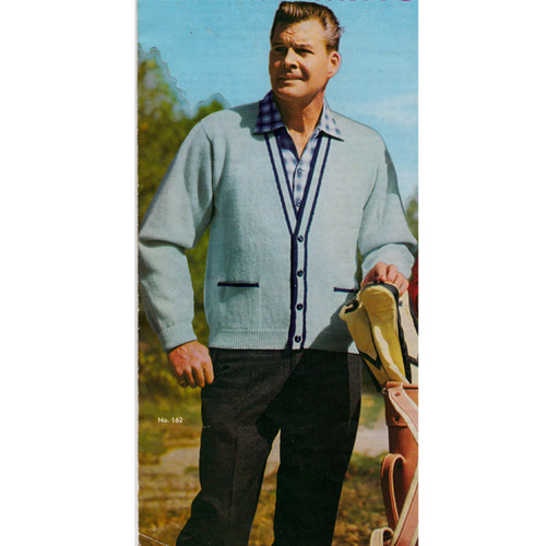 Mans Knitted Cardigan Pattern with Contrast Trim
