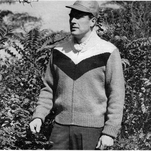 Mans Chevron Stripe Knitted Jacket Pattern with Zip Closure