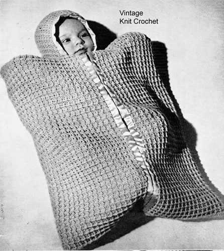 Crochet Baby Bunting Pattern, Infant Sack, Vintage 1940s