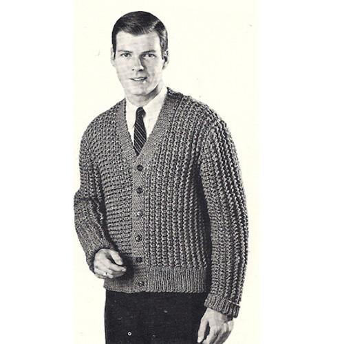 Vintage Knitting Pattern, Mans Ribbed Cardigan