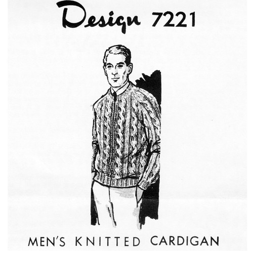 Mens Cabled Cardigan Knitting Pattern Design 7221