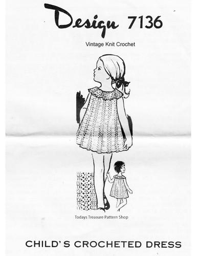 Toddler Crochet Dress Pattern, Ruffled Collar, Mail Order Design 7136