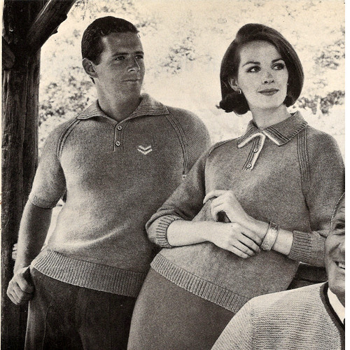 His & Hers Knitted Pullovers Pattern, Vintage 1960s