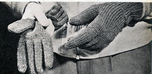Mans Free Knitted Gloves Pattern, Vintage 1940s