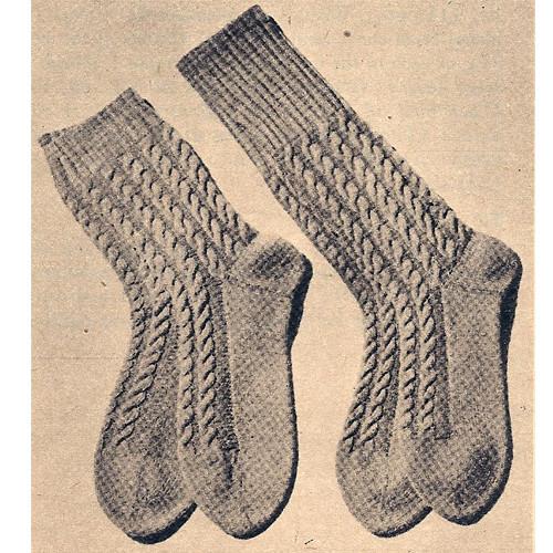 Vintage 1940s Mens Cable Socks Knitting Pattern