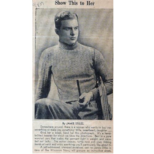 Vintage 1920s Knitting Pattern for Mans Pullover