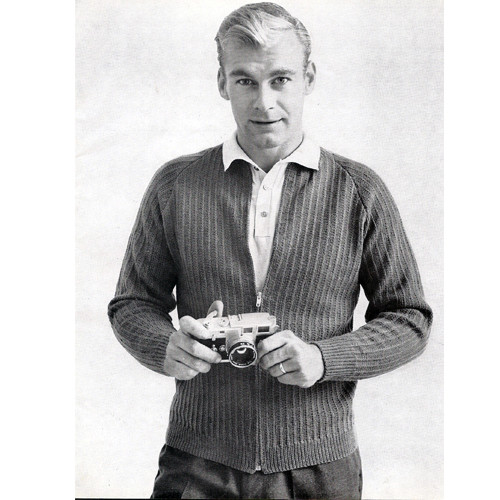 Mans Ribbed Zippered Jacket Knitting Pattern
