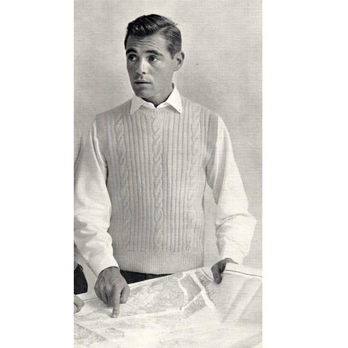Vintage Mans Ribbed Sleeveless Pullover Knitting Pattern
