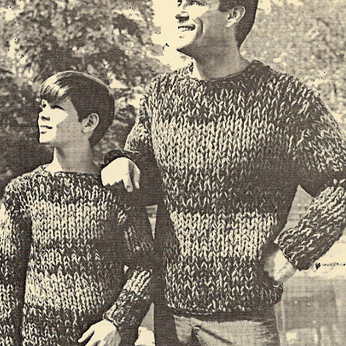 Big Needle Striped Pullovers Knitting Pattern