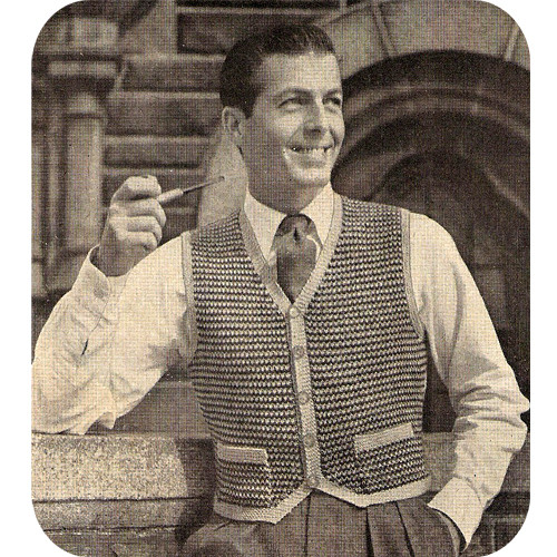 Vintage Tweed Short Waisted Vest Knitting Pattern