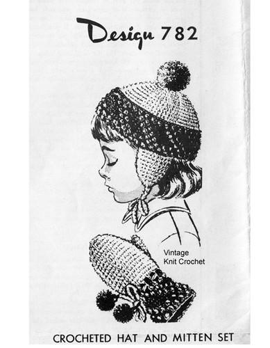 Crochet Crochet Hat  Pattern Ear Flaps, Mail Order 782