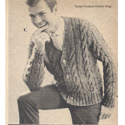 Mans Vintage Cable Paneled Cardigan Knitting Pattern