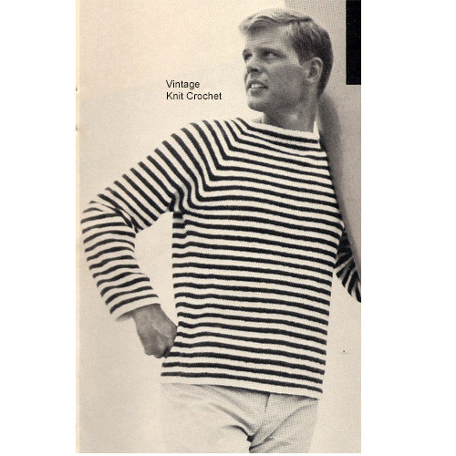 Mans Knitted Stripped Pullover Shirt Pattern