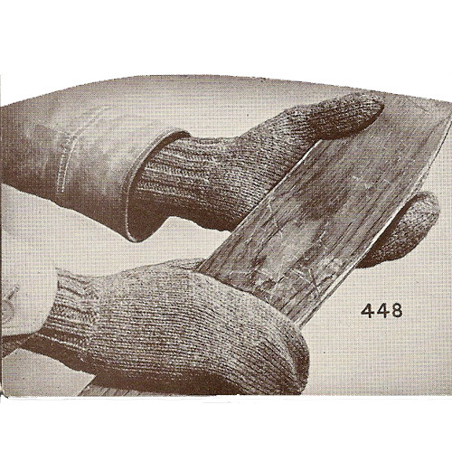 Mans Knitted Work Gloves Pattern, Vintage 1940s