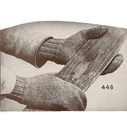 Mans Knitted Work Gloves Pattern, Vintage 1940s