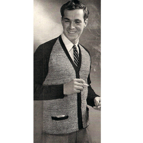 Mans Knitted Cardigan Pattern, Raglan Sleeves