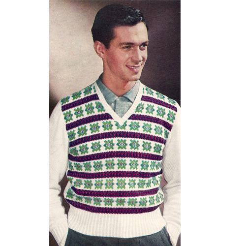 Mans Striped Motif Knitted Pullover Vest Pattern
