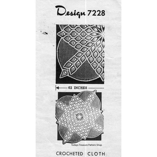 Alice Brooks 7228, Crochet Square Tablecloth Pattern
