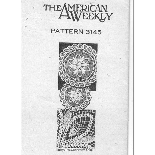 American Weekly 3145, Pineapple Border Doily Pattern