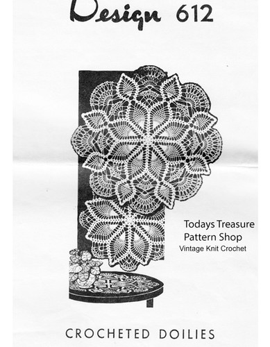 Large Crochet Pineapple Doilies Pattern, Mail Order 612