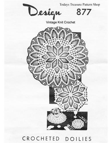 Crochet Pineapple Luncheon Set Pattern, Mail Order 877