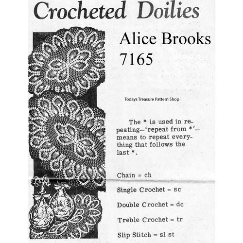 Alice Brooks 7165, Oval Pineapple Doilies Pattern