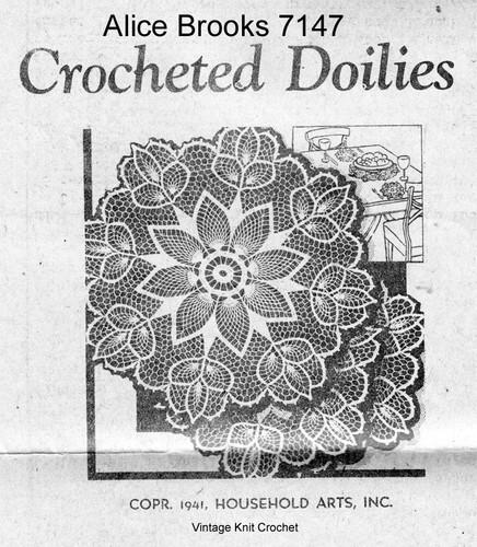 Crochet Pineapple Flower Doily Pattern, Mail Order 7147
