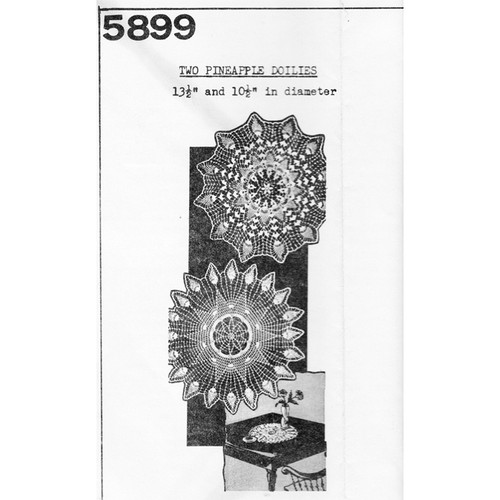 Mail Order 5899, Two Crochet Pineapple Doilies Pattern