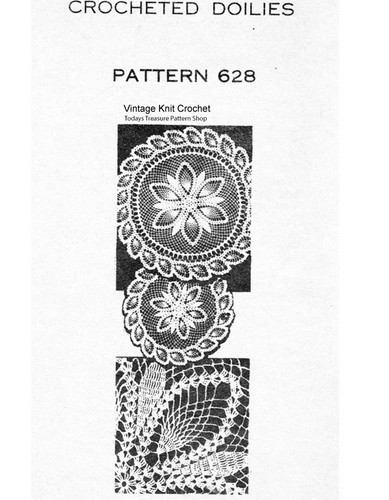 Crochet Doily Pattern, Pineapple Border, Mail Order 628