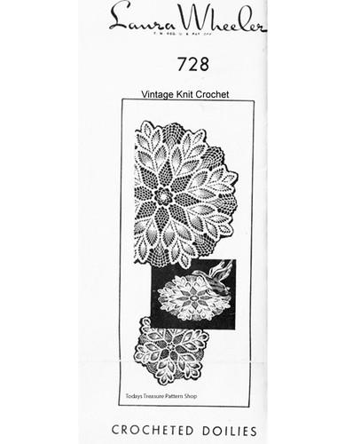 Vintage Mail order crochet pineapple doilies pattern, Laura Wheeler 728