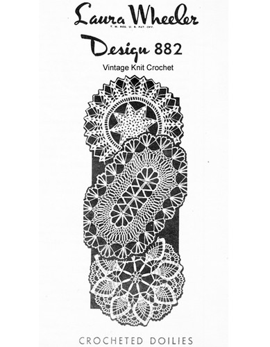 Three crocheted doilies pattern, round oval, Laura Wheeler 882