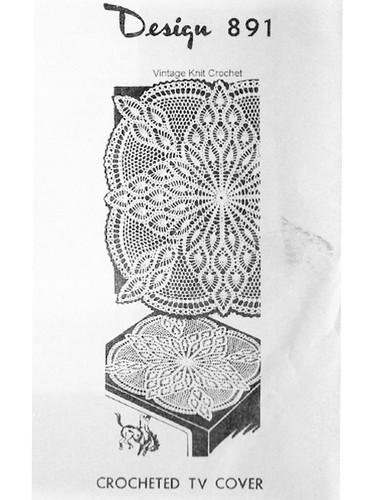 Pineapple TV Cover Doily Crochet pattern, Mail Order 891
