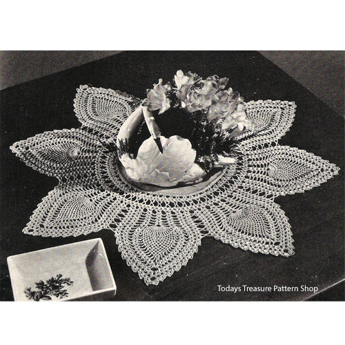 Crocheted Petal Doily Pattern with Linen Center