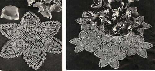Crocheted Pineapple Centerpiece Doily pattern, Vintage 1940s