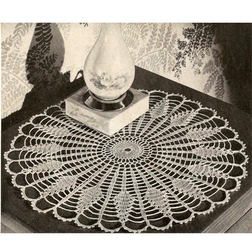 Pineapple Sundial Crochet Doily Pattern, Vintage 1940s