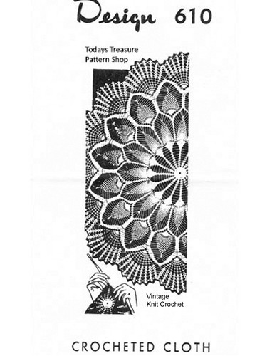 Round Crochet Tablecloth Pattern, Pineapples, Mail Order 610