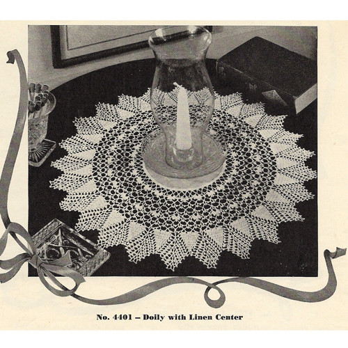 Pineapple Bordered Crochet Doily Pattern No 4401