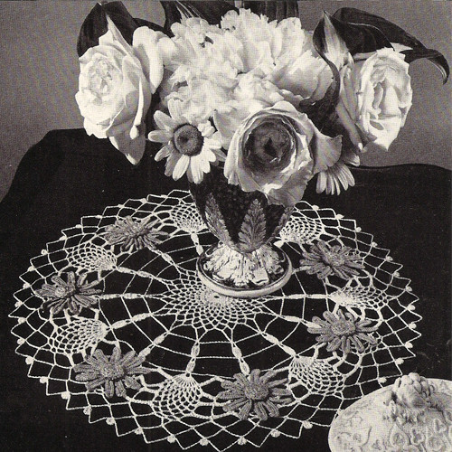 Vintage Blue Aster Crocheted Doily Pattern
