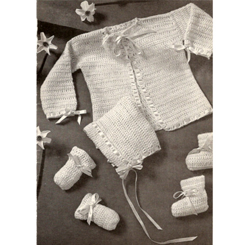 4 piece crochet baby set pattern