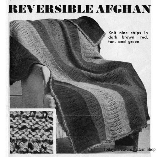 Knitting Pattern for Reversible Afghan, Vintage 1950s