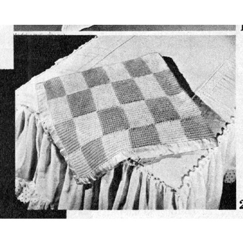 Easy Checkerboard Knitted Afghan Pattern in Rib Stitch