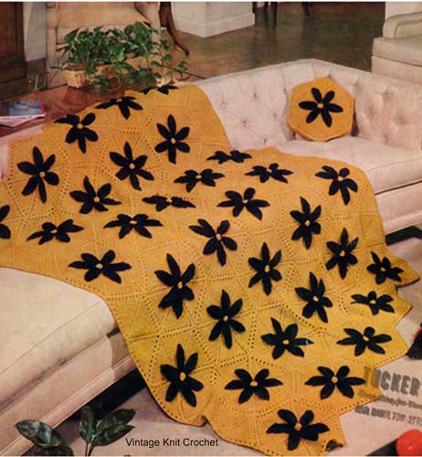 Daisy Afghan Knitting Pattern, Hexagon Blocks