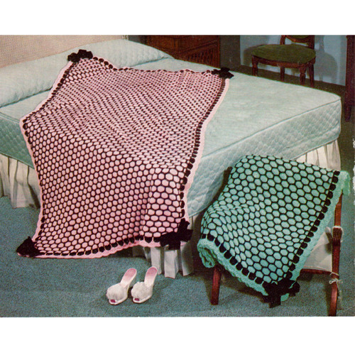 Honeycomb Knitted Afghan Pattern, Vintage 1950s
