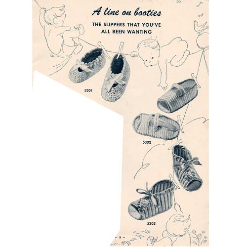Babies Slippers Vintage Crochet Pattern