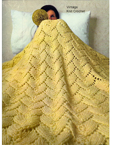 Vintage Knitted Afghan Pattern, Lacy Stitch