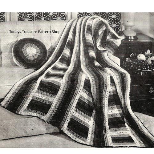 Vintage Knitted Ladder Afghan Pattern from Bernat