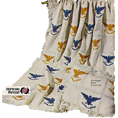 Vintage Eagle Knitting Pattern, Patriotic Throw